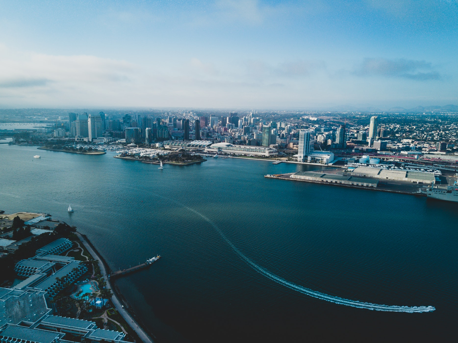Aerial view of San Diego skyline against harbor