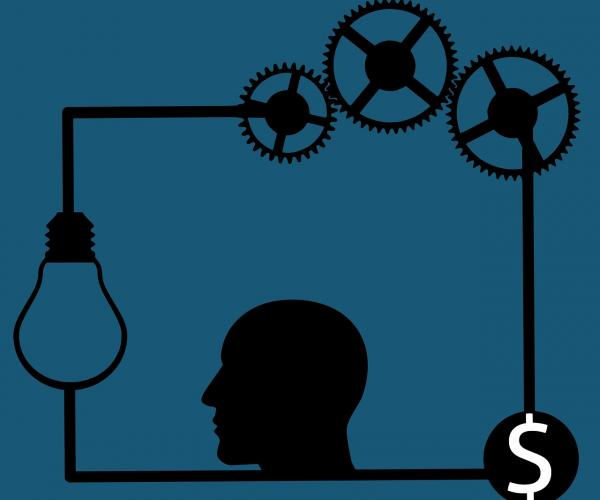 Illustration of dollar sign, human head, light bulb and gears feeding each other in a cycle