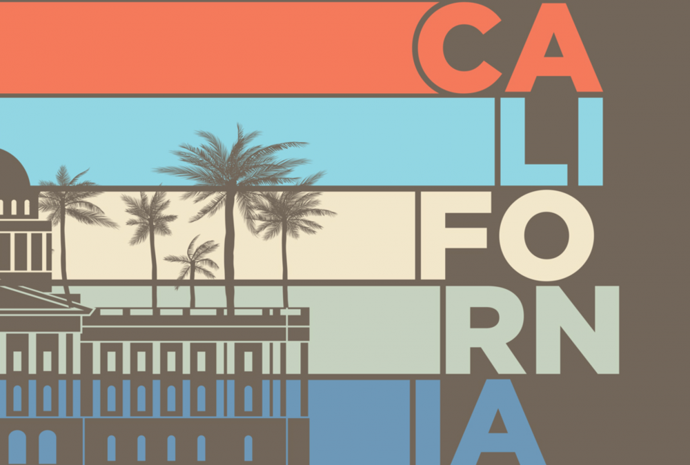 """Photo of state building and """"California"""" text"""